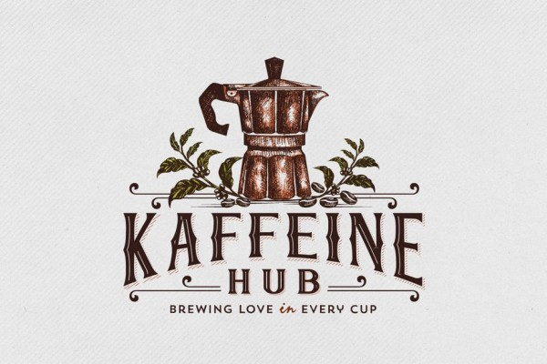 old school coffee pot logo design