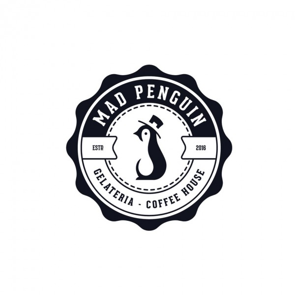 Mad penguin coffee house logo