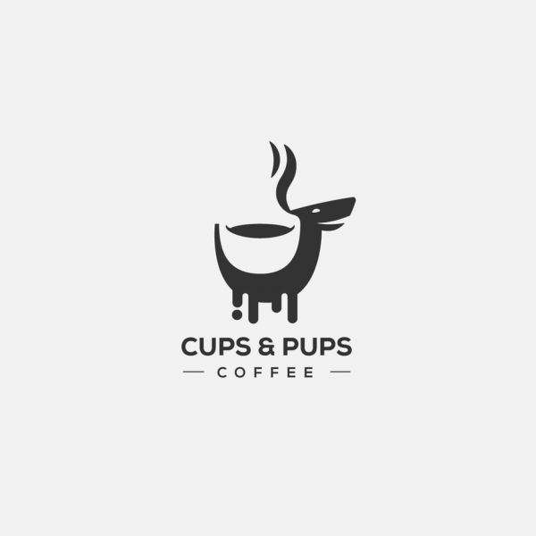 cups and pups coffee logo design