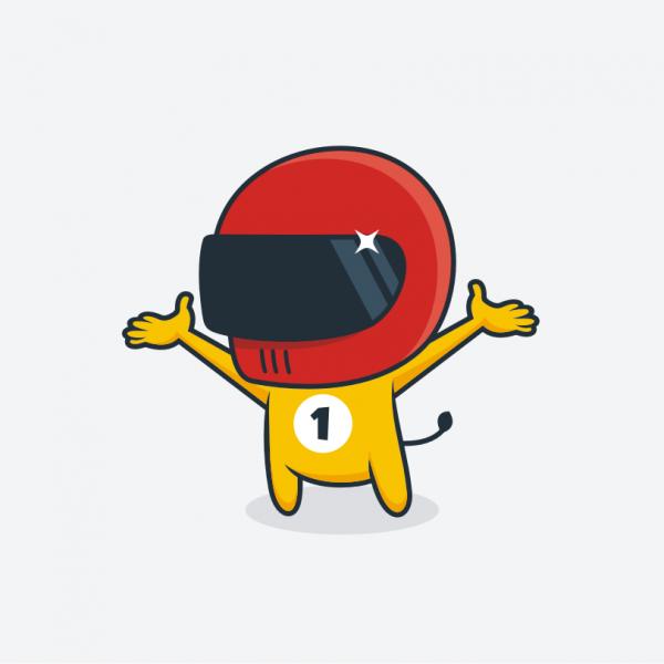 Cute race car driver mascot