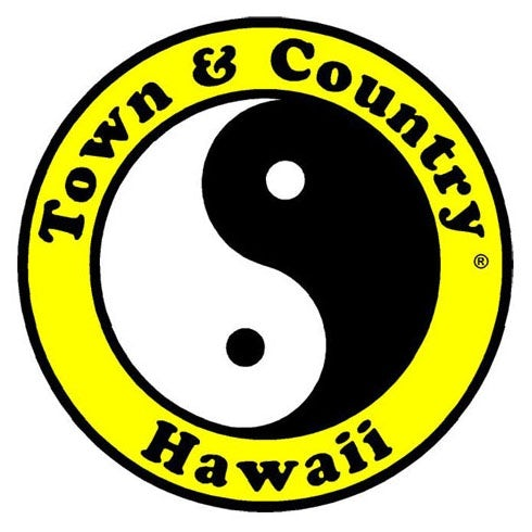 Town & Country Surf Design yin-yang  logo  in black and white.