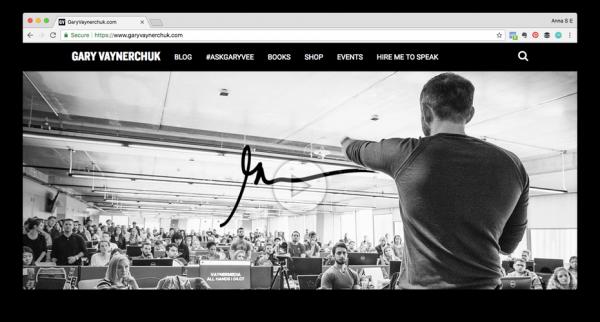 Screenshot of Gary Vaynerchuk's website