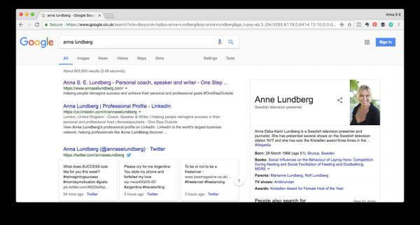 A google search for anna lundberg