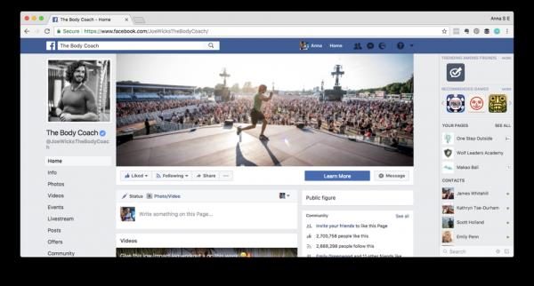 Screenshot of Joe Wicks' Facebook page