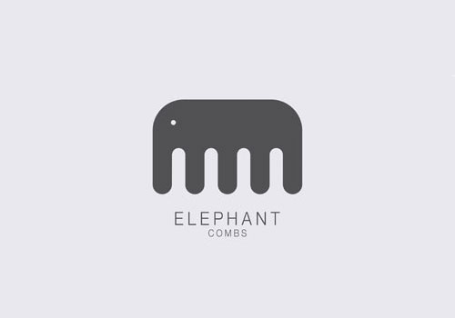梳子品牌创意大象logo设计