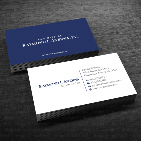 blue and white attorney business card